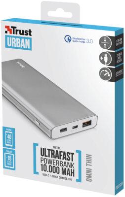 Мобильная батарея TRUST Omni thin metal Powerbank 10000mAh USB-C QC3 6