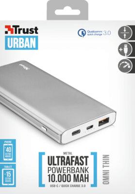 Мобильная батарея TRUST Omni thin metal Powerbank 10000mAh USB-C QC3 7
