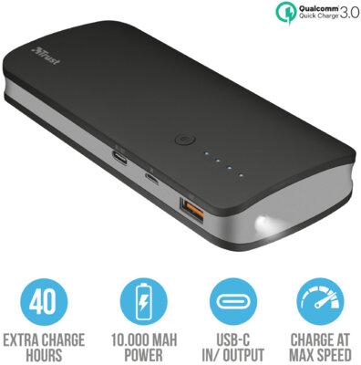 Мобильная батарея TRUST Omni ultra fast 10000mAh with USB-C 4