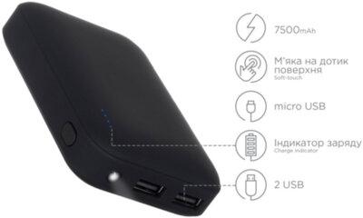 Мобильная батарея ERGO LI-07 7500 mAh Black 2