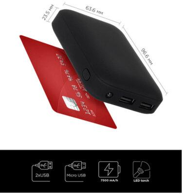 Мобильная батарея ERGO LI-07 7500 mAh Black 9