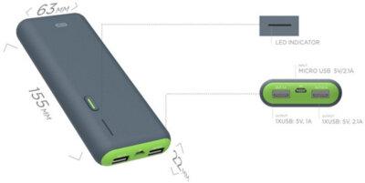 Мобильная батарея ERGO LI-S86 12500 mAh Rubber Grey 4