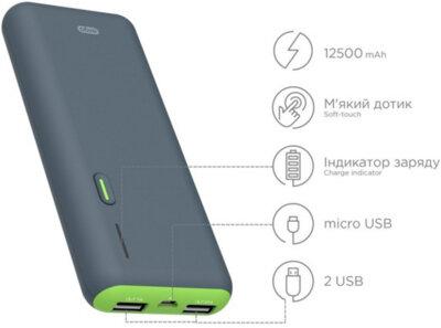 Мобильная батарея ERGO LI-S86 12500 mAh Rubber Grey 5