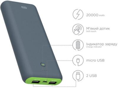 Мобильная батарея ERGO LI-S90 20000 mAh Li-ion Rubber Grey 3