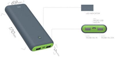 Мобильная батарея ERGO LI-S90 20000 mAh Li-ion Rubber Grey 4