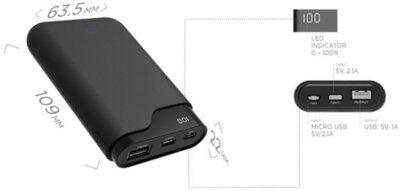 Мобильная батарея ERGO LI-U3 7500 mAh TYPE-C Rubber Black 5