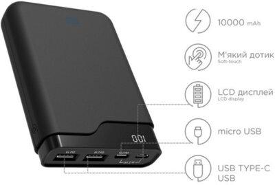 Мобільна батарея ERGO LI-U4 10000 mAh TYPE-C Rubber Black 4