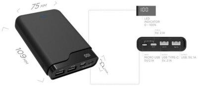 Мобильная батарея ERGO LI-U4 10000 mAh TYPE-C Rubber Black 5