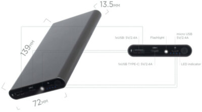 Мобильная батарея ERGO LP-106 10000 mAh TYPE-C Space Gray 10