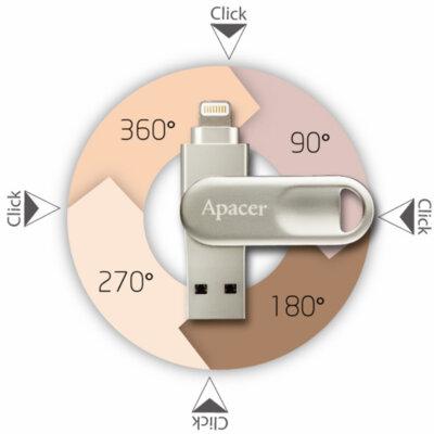 Накопитель APACER AH790 64GB Lightning Dual Silver 4