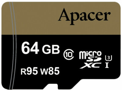Карта пам'ятi APACER microSDXC 64GB UHS-I U3 + adapter 1