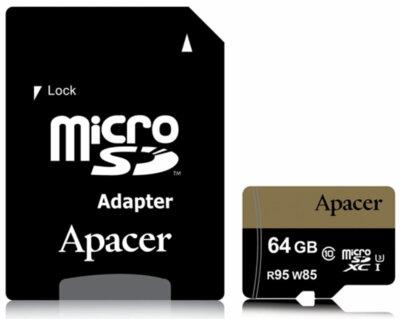 Карта пам'ятi APACER microSDXC 64GB UHS-I U3 + adapter 2