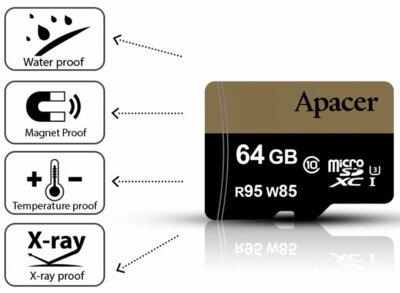 Карта пам'ятi APACER microSDXC 64GB UHS-I U3 + adapter 3