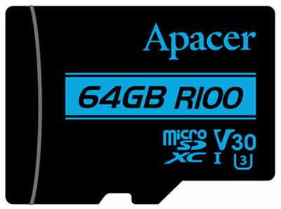Карта пам'ятi APACER microSDXC 64GB UHS-I U3 V30 + adapter 1