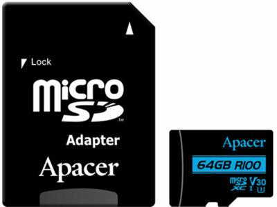 Карта пам'ятi APACER microSDXC 64GB UHS-I U3 V30 + adapter 2