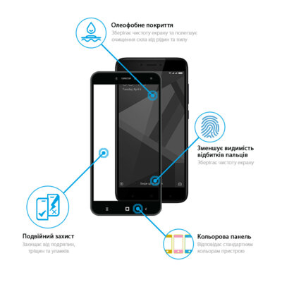 Захисне скло Global Full Glue Black для Samsung Galaxy A70 A705 3