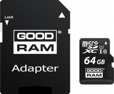 Карта пам'ятi GOODRAM microSDXC 64GB Class 10 UHS I + adapter 2