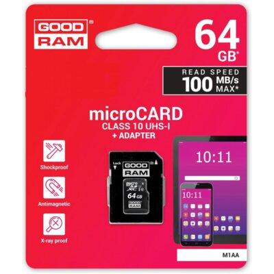 Карта пам'ятi GOODRAM microSDXC 64GB Class 10 UHS I + adapter 3