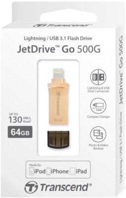 Накопитель TRANSCEND JetDrive Go 500 64GB Gold 5