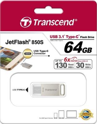 Накопитель TRANSCEND JetFlash 850 64GB Type-C Silver 3