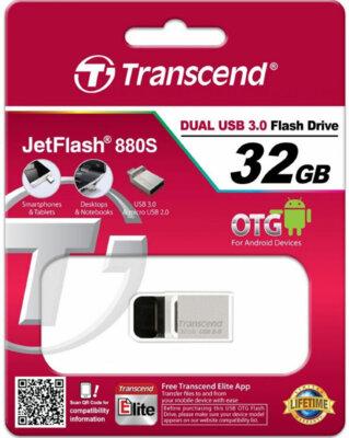 Накопитель TRANSCEND JetFlash OTG 880 32GB Metal Silver 4