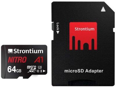 Карта пам'яті Strontium microSDXC 64GB C10 USH-I U3 Nitro A1 + SD adapter 2