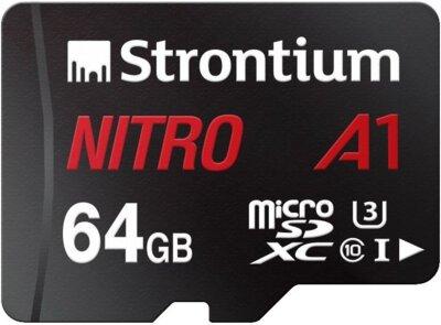 Карта пам'яті Strontium microSDXC 64GB C10 USH-I U3 Nitro A1 + SD adapter 1
