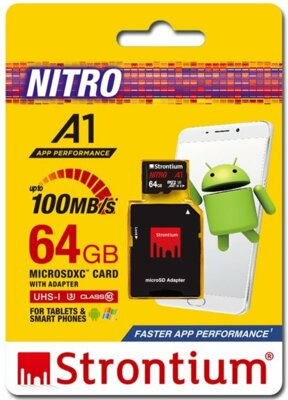 Карта пам'яті Strontium microSDXC 64GB C10 USH-I U3 Nitro A1 + SD adapter 5