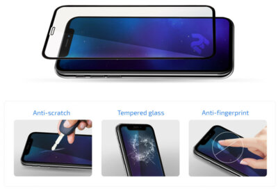 "Защитное стекло 2E iPhone XR 6.1"" 3D black border FG (2E-TGIP-2018-6.1-3D) 2"