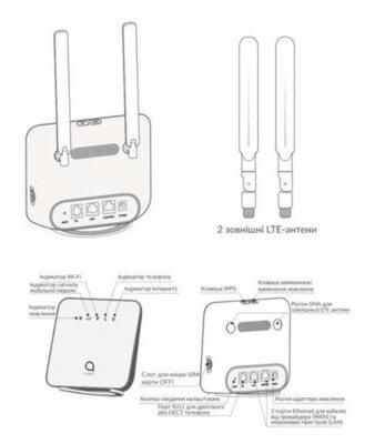 Роутер Alcatel LINKHUB LTE Cat4 Home Station (HH42CV) Black 2