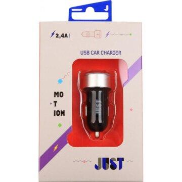 Купить Зарядное устройство JUST Motion Dual USB Car Charger CCHRGR-MTN-BLCK Black-Silver