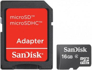 Купить Карта памяти SANDISK microSDHC 16GB Class 4 + SD ad